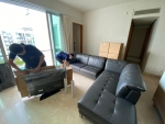 Packing TV and dismantling sofa